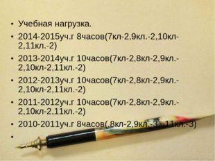 Учебная нагрузка. 2014-2015уч.г 8часов(7кл-2,9кл.-2,10кл-2,11кл.-2) 2013-2014