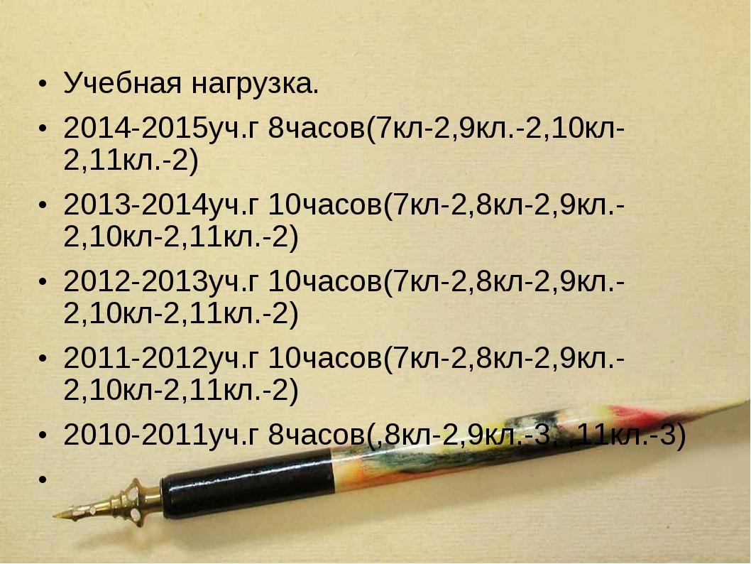 Учебная нагрузка. 2014-2015уч.г 8часов(7кл-2,9кл.-2,10кл-2,11кл.-2) 2013-2014...