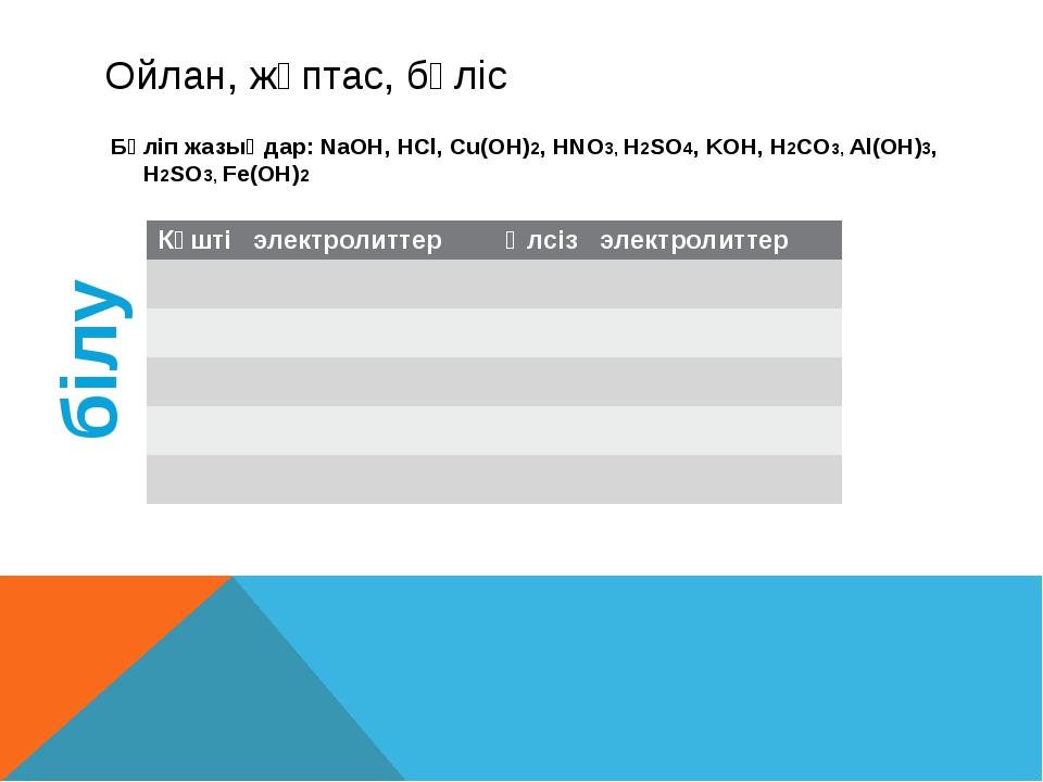 Ойлан, жұптас, бөліс Бөліп жазыңдар: NaOH, HCl, Cu(OH)2, HNO3, H2SO4, KOH, H2...