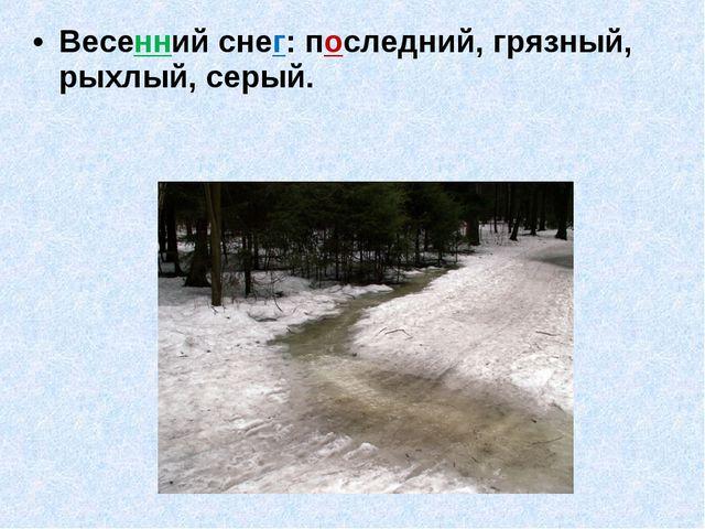 Весенний снег: последний, грязный, рыхлый, серый.
