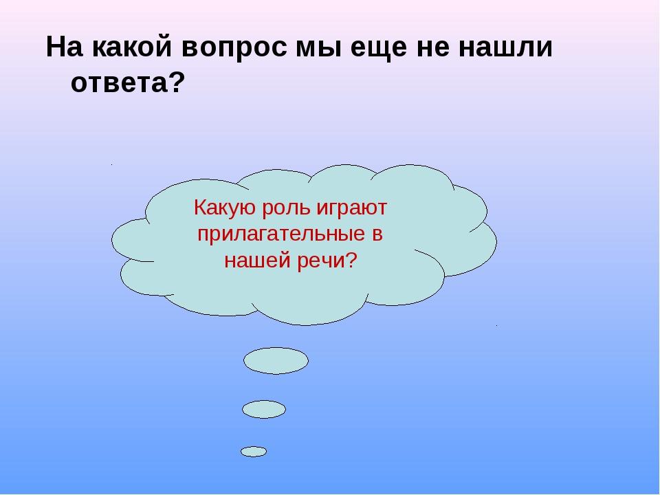 На какой вопрос мы еще не нашли ответа? Какую роль играют прилагательные в на...