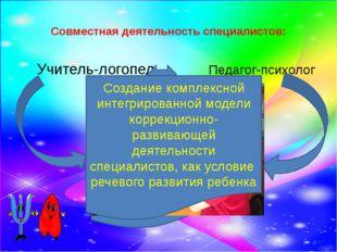 Совместная деятельность специалистов: Учитель-логопед Педагог-психолог Осущес