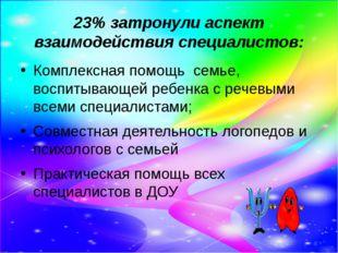23% затронули аспект взаимодействия специалистов: Комплексная помощь семье, в