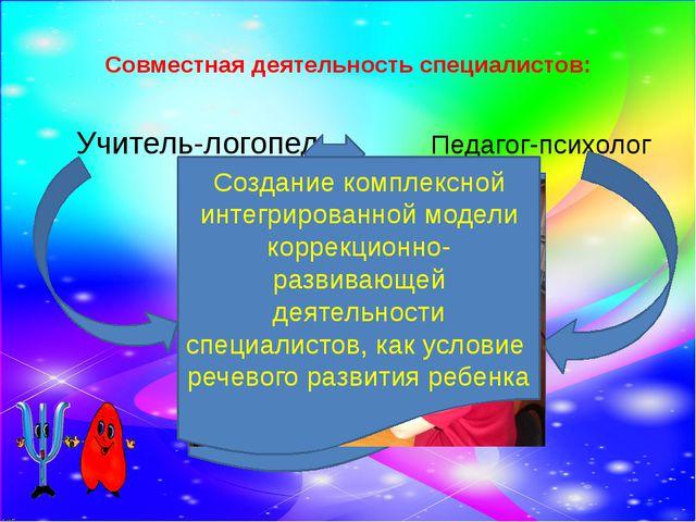 Совместная деятельность специалистов: Учитель-логопед Педагог-психолог Осущес...