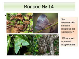 Вопрос № 14. Как называются явления подражания в природе? Объясните причины п
