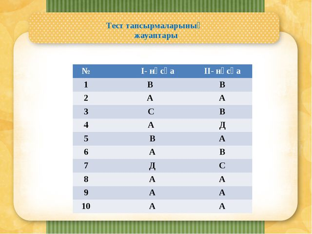 Тест тапсырмаларының жауаптары № I-нұсқа II-нұсқа 1 В В 2 А А 3 С В 4 А Д 5...