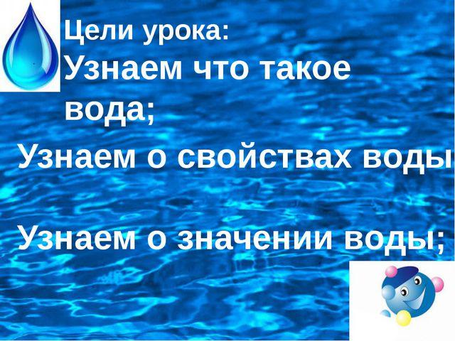 Цели урока: Узнаем что такое вода; Узнаем о свойствах воды; Узнаем о значени...