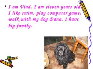 I am Vlad. I am eleven years old. I like swim, play computer game, walk with
