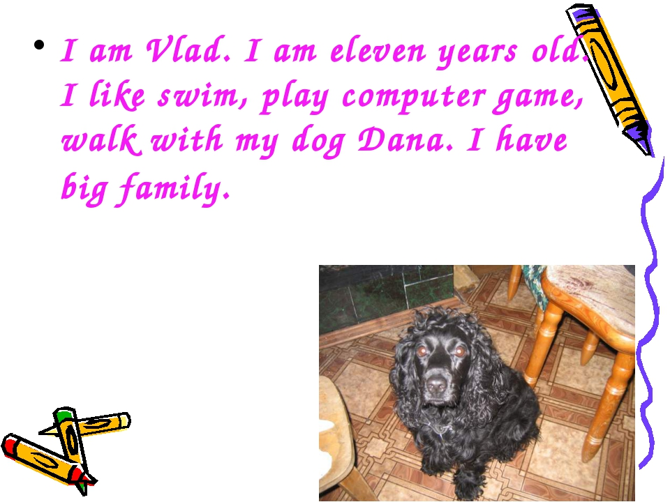 I am Vlad. I am eleven years old. I like swim, play computer game, walk with...
