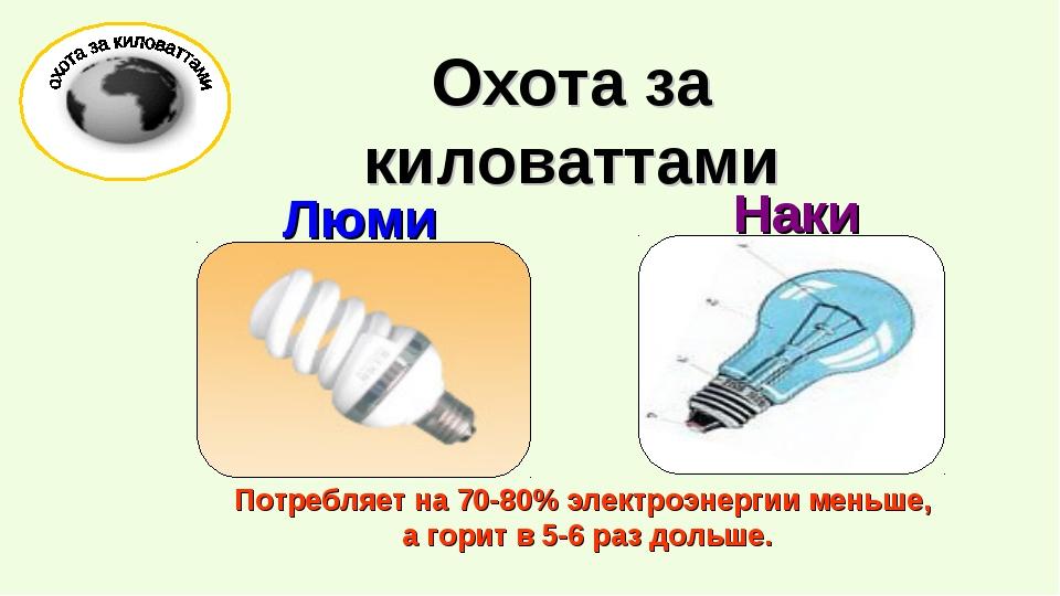 Потребляет на 70-80% электроэнергии меньше, а горит в 5-6 раз дольше. Охота...
