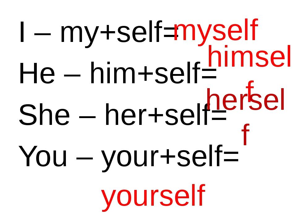 I – my+self= He – him+self= She – her+self= You – your+self= myself himself h...