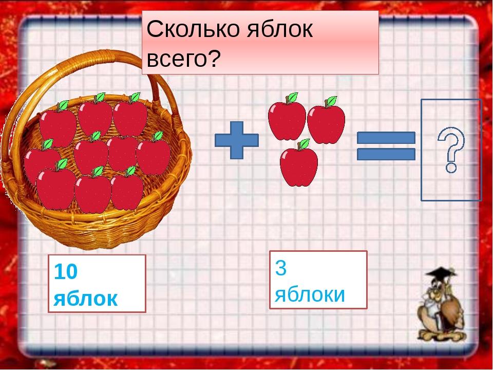 10 яблок 3 яблоки Сколько яблок всего?