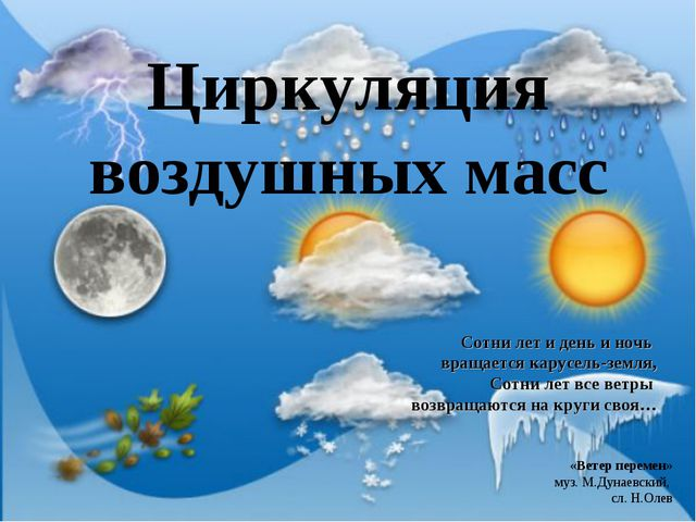 Циркуляция воздушных масс Сотни лет и день и ночь вращается карусель-земля, С...