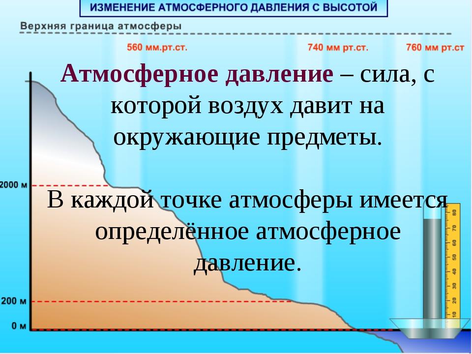 Атмосферное давление – сила, с которой воздух давит на окружающие предметы. В...