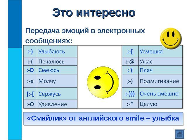 Передача эмоций в электронных сообщениях: «Смайлик» от английского smile – ул...