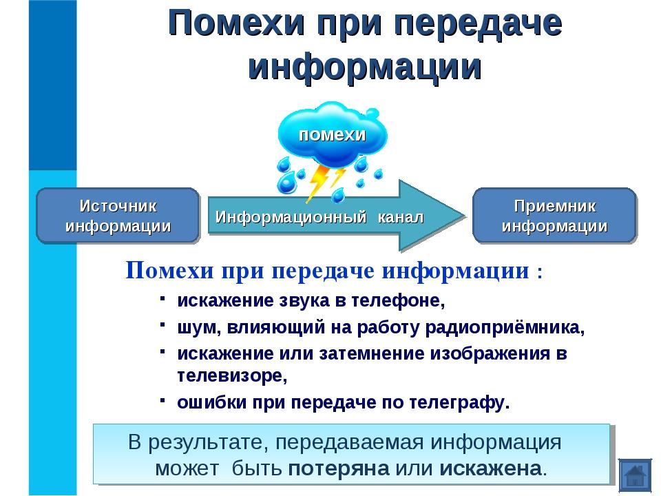 Помехи при передаче информации  Помехи при передаче информации : искажение з...