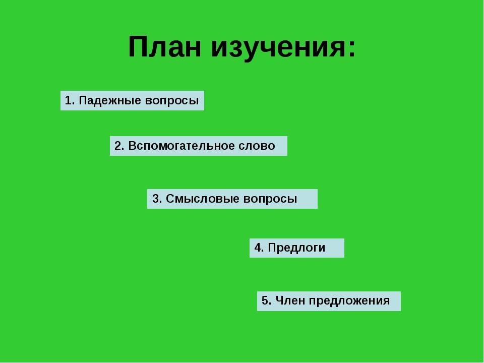 План изучения: 1. Падежные вопросы 2. Вспомогательное слово 3. Смысловые вопр...