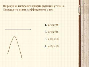 На рисунке изображен график функции у=ах2+с. Определите знаки коэффициентов а