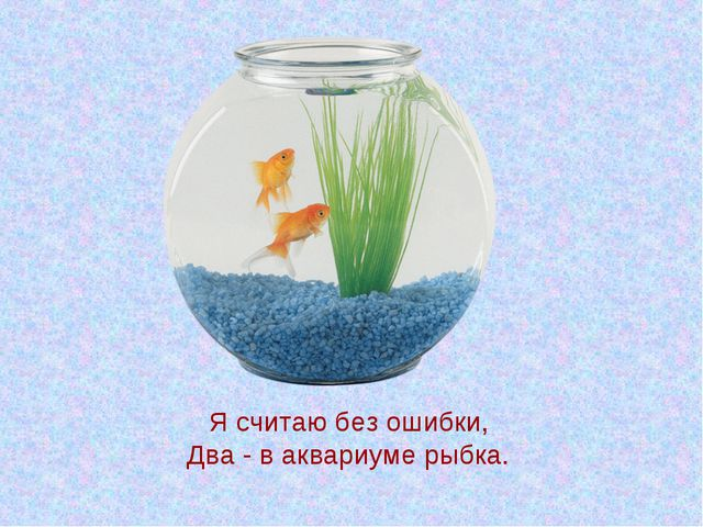 Я считаю без ошибки, Два - в аквариуме рыбка.