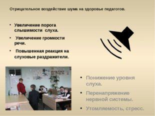 Отрицательное воздействие шума на здоровье педагогов. Увеличение порога слыши