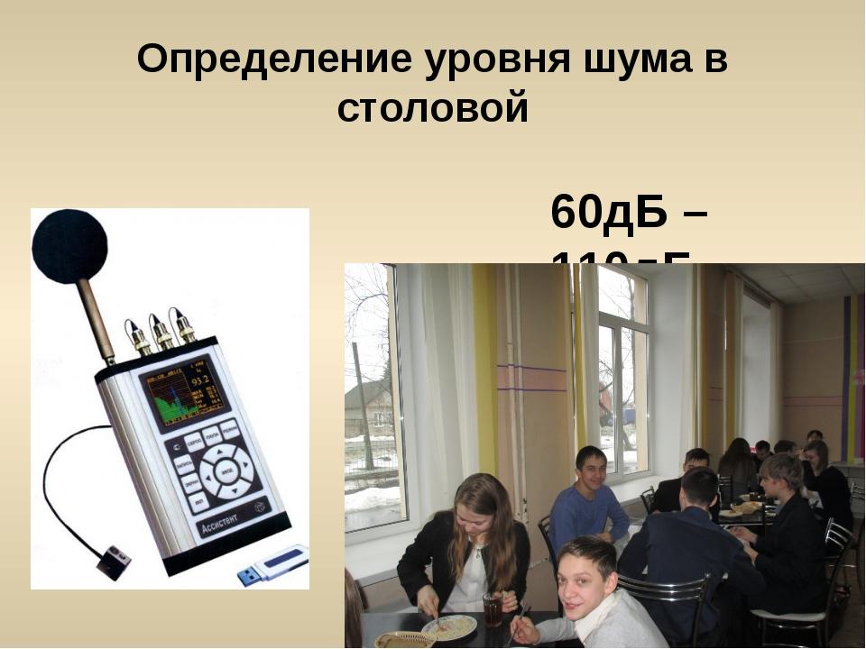 Определение уровня шума в столовой 60дБ – 110дБ