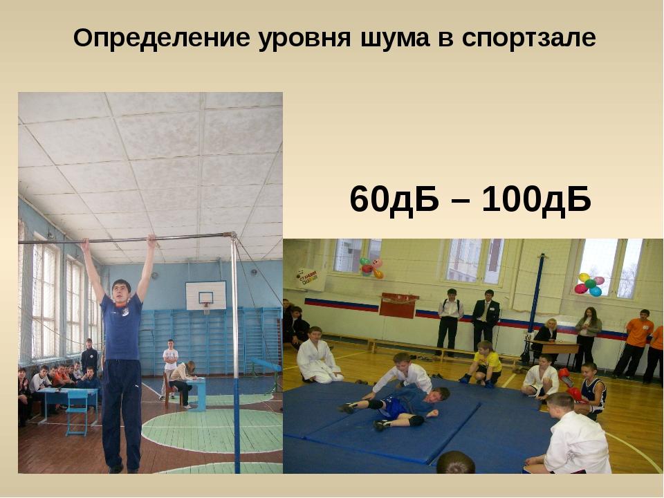 Определение уровня шума в спортзале 60дБ – 100дБ