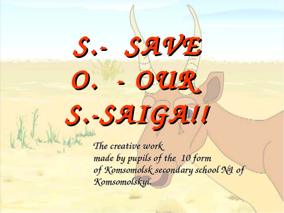 S.- SAVE O. - OUR S.-SAIGA!! 	The creative work made by pupils of the 10 form...