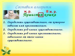 Составим алгоритм Пушистая кошка ж. р. ж. р. Определить существительное, от к