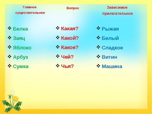 Главное существительное Вопрос Зависимое прилагательное Белка Заяц Яблоко Арб...