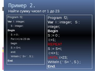 Пример 2. Program f2; Var I : integer; 	S : integer; Begin 	S := 0 ; 	For i:=