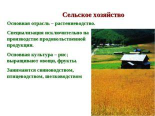 Сельское хозяйство Основная отрасль – растениеводство. Специализация исключит