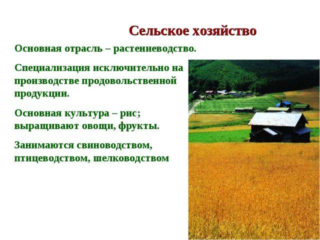 Сельское хозяйство Основная отрасль – растениеводство. Специализация исключит...