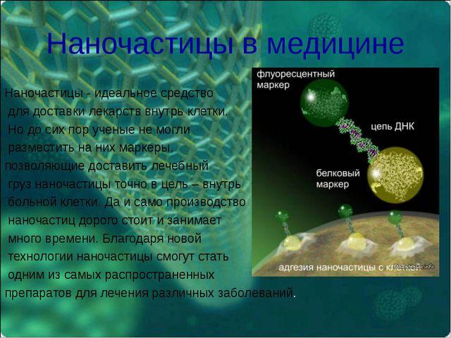 Наночастицы в медицине Наночастицы - идеальное средство для доставки лекарств...