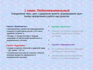 1 этап. Подготовительный Определение темы, цели, содержания проекта, формиров