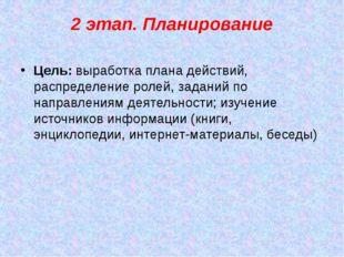 2 этап. Планирование Цель: выработка плана действий, распределение ролей, зад