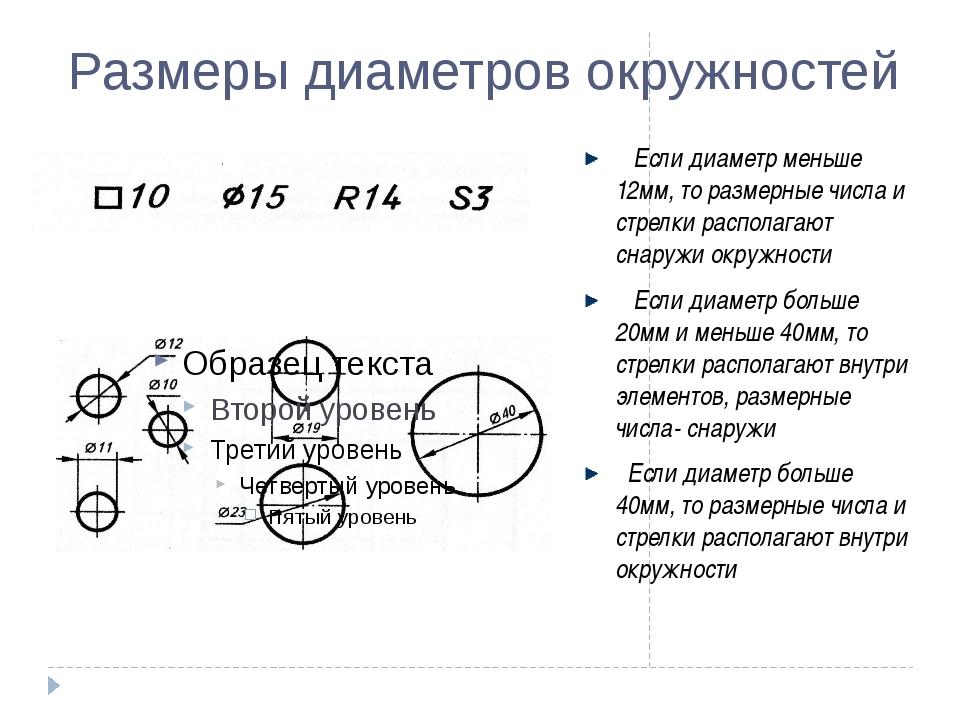 Размеры диаметров окружностей Если диаметр меньше 12мм, то размерные числа и...