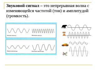 Звуковой сигнал – это непрерывная волна с изменяющейся частотой (тон) и ампли