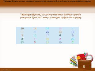 Таблицы Шульте, которые развивают боковое зрение учащихся. Дети за 1 минуту н