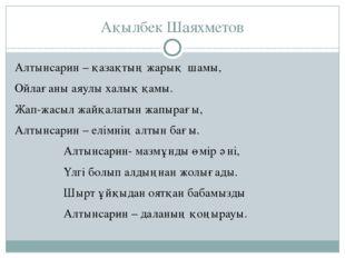 Ақылбек Шаяхметов Алтынсарин – қазақтың жарық шамы, Ойлағаны аяулы халық қам