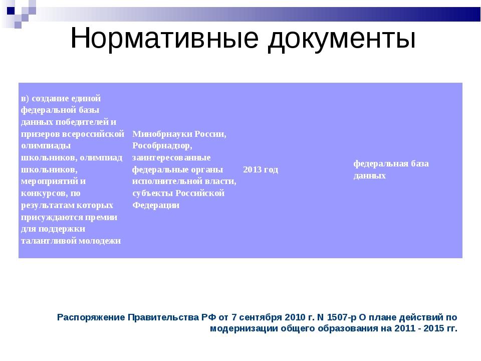 Нормативные документы Распоряжение Правительства РФ от 7 сентября 2010г. N1...