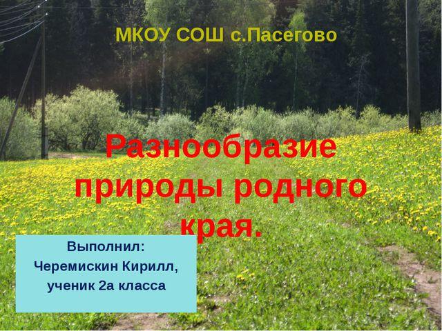 Разнообразие природы родного края. МКОУ СОШ с.Пасегово Выполнил: Черемискин К...