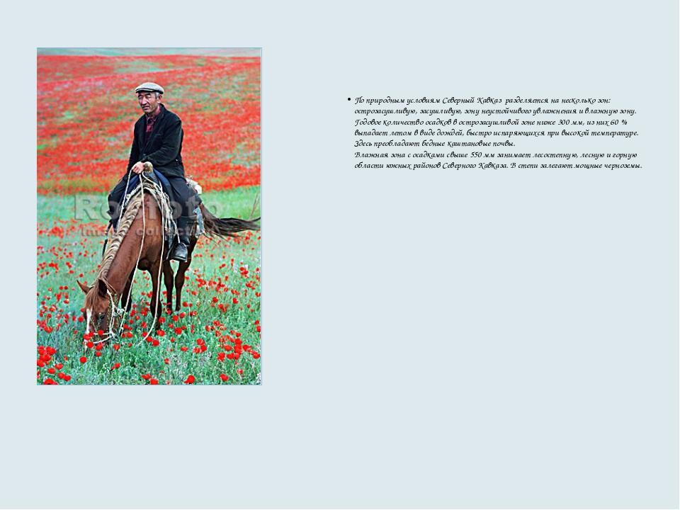 По природным условиям Северный Кавказ разделяется на несколько зон: острозас...