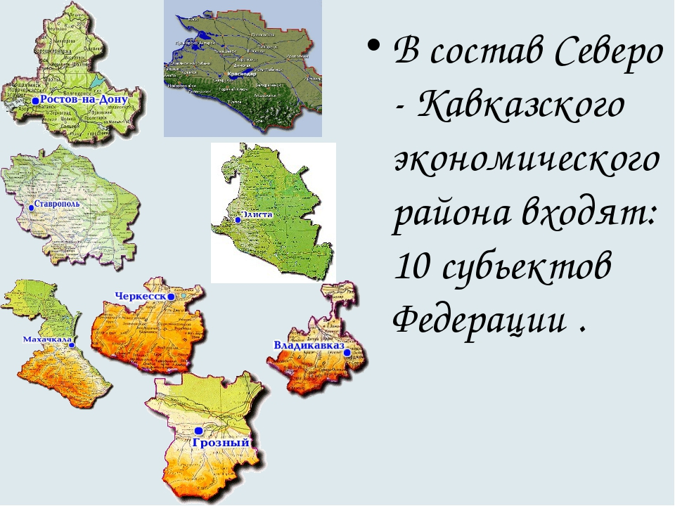 В состав Северо - Кавказского экономического района входят: 10 субьектов Феде...