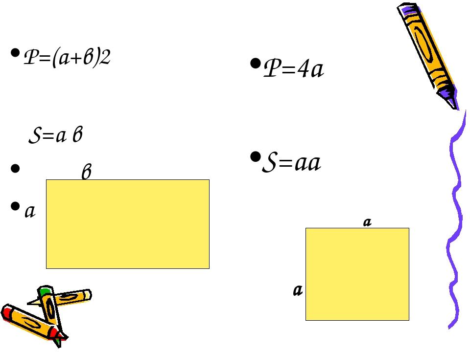 Р=(а+в)2 S=a в в а Р=4а S=аа а а