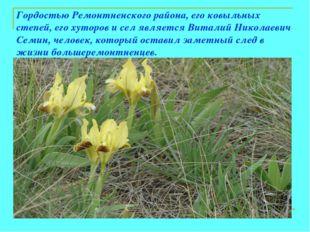 Гордостью Ремонтненского района, его ковыльных степей, его хуторов и сел явля