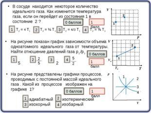 На рисунке показан график зависимости объема одноатомного идеального газа от