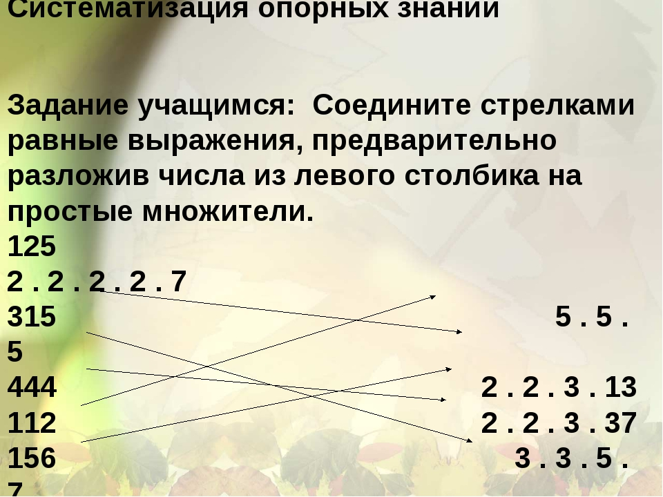 Систематизация опорных знаний Задание учащимся: Соедините стрелками равные в...