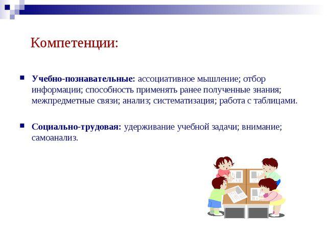 Компетенции: Учебно-познавательные: ассоциативное мышление; отбор информации;...