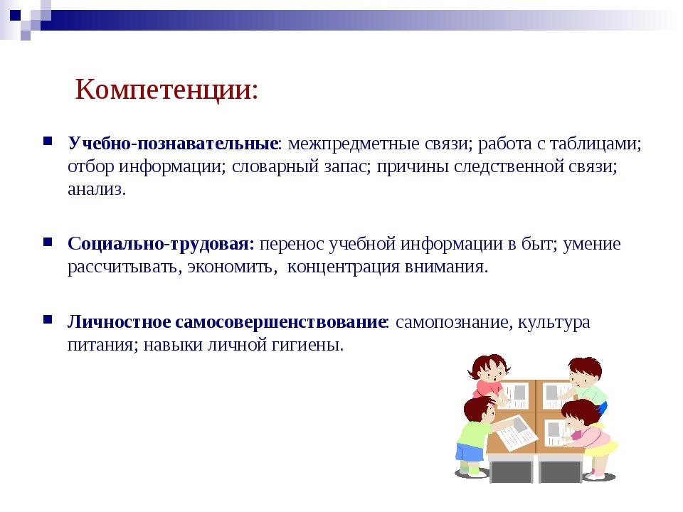 Компетенции: Учебно-познавательные: межпредметные связи; работа с таблицами;...
