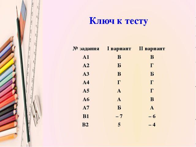Ключ к тесту № задания I вариант II вариант А1 В В А2 Б Г А3 В Б А4 Г Г А5 А...